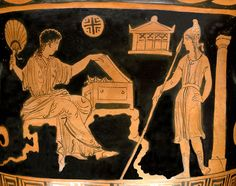 Helen and Paris (wearing a Phrygian cap). Side A from an Apulian (Tarentum?) red-figure bell-krater, 380–370 BC.Painter of Stockholm 1999, H. 33.40 cm; D. 38.60 cm; L. 33.90 cm, Tochon Collection, 1818, Department of Greek, Etruscan and Roman Antiquities, Sully, first floor, room 44, case 9, Louvre Museum, Paris, France.    History of Paris and Helen at:    http://en.wikipedia.org/wiki/Helen#Seduction_by_Paris