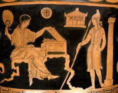 Helena y Paris Pintor de Estocolmo, cratera de Apulia, 380 a.n.e.