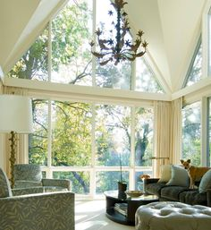 Julio Quinones & Associates-love the white windows and trim AND love the trees up close to the prow! Interior Window Trim, Interior And Exterior, Interior Design, Home Living Room, Living Spaces, Gable Window, Big Windows, Ceiling Windows, Dream Decor