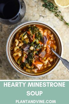Easy, healthy, and hearty vegan minestrone soup recipe. Delicious Italian vegetable soup - perfect with a slice of warm bread and a glass of Italian red wine. Vegan Recipes Easy, Wine Recipes, Soup Recipes, Vegetarian Recipes, Cooking Recipes, Vegan Vegetarian, Savoury Recipes, Gf Recipes, Veggie Recipes
