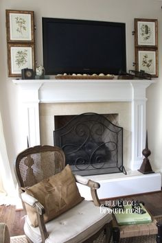Hiding tv over mantle - best I've found. This tv is recessed into wall. Not possible with brick. Could frame be built around tv on brick to hold frames flat ?