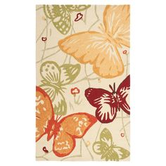 Hand-hooked indoor/outdoor rug with a butterfly design.  Product: RugConstruction Material: 100% Polypropylene