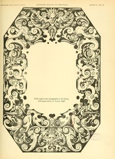 """""""Historic design in printing""""; reproductions of book covers, title pages, ornaments, and type - title page border Henry Lewis, Calligraphy Types, Boston Public Library, Book Cover Design, Surface Pattern, Book Art, Initials, Stationery, Book Covers"""