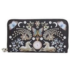 Women's Alexander Mcqueen Nocturnal Print Calfskin Wallet (€530) ❤ liked on Polyvore featuring bags, wallets, shopper handbags, pattern bag, shopping bag, print bags and alexander mcqueen