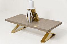 {Fat X-Leg Coffee Table in Washed Oak & Brass/Gold via modshop1.com}