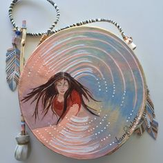 """""""DREAMTIME"""" ~ $ 164  ~  10 inch primitive drum & beater ~ designed & hand-painted by artist:  Sharon Gilbertson  (contact artist on website)  For clothing collection - follow link on website to Sharon's VIDA VOICES shop.  Thank you."""