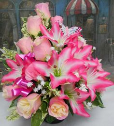 Pink was my moms favorite color. She would have loved this! Funeral Flower Arrangements, Artificial Flower Arrangements, Artificial Silk Flowers, Christmas Arrangements, Beautiful Flower Arrangements, Grave Flowers, Cemetery Flowers, Funeral Flowers, Graveside Decorations