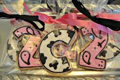 Western Cow and Bandana Print Decorated Sugar Cookies Cowgirl Cowboy Birthday Party Favors. $18.00, via Etsy.