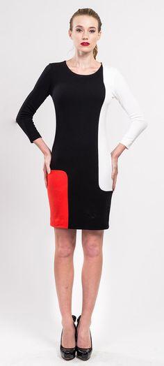 Wool and viscose blend jersey color block dress by tsyndyma