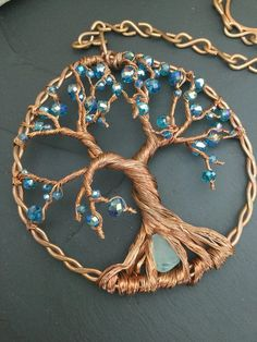 of life sun catcher wire sun catcher tree dreamcatcher crystal suncatcher garden fairy door wire tree of life gift for wife Tree Of Life Jewelry, Tree Of Life Necklace, Wire Wrapped Jewelry, Wire Jewelry, Jewellery, Wire Crafts, Jewelry Crafts, Door Beads, Dream Catcher