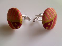 African Print Button Cufflinks Peach Red & Gold  by JustThingsbyLx, £6.00