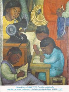 Familia trabajando (Diego Rivera) ¿Qué impresión general se desprende de este mural? Lo primero que me llama la atención... Describe las actividades de los niños y de la madre (mientras que) ¿Qué visión quiere darnos Diego Rivera de esta familia india?