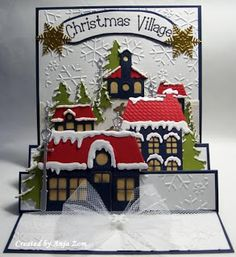 Christmas Village - Anja Zom kaartenblog. I don't see myself ever doing this, but it's so cute I had to pin it!