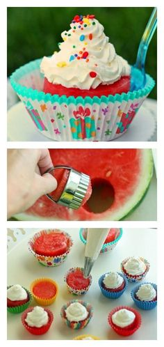Watermelon Cupcakes.  No added sugar and a super fun way for kids to eat watermelon! (Cool Desserts For Parties)