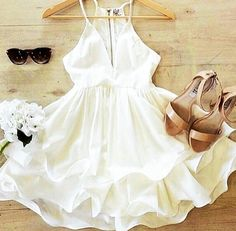#Pure #White #DeepV #Summer #Cocktail #Dress ~