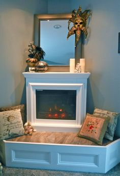 carolyn payne murals- corner electric fireplace with tile hearth to set on and library paneling Corner Electric Fireplace, Corner Gas Fireplace, Build A Fireplace, Cast Iron Fireplace, Home Fireplace, Brick Fireplace, Electric Fireplaces, Stacked Stone Fireplaces, Houses
