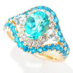 Gem Treasures® 14K Gold 2.20ctw Oval Apatite & Multi Gemstone Halo Ring