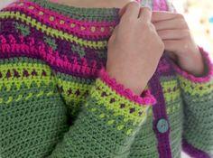 Not knitted, but crochet... Fair Isle cardigan. By Handwerkjuffie.