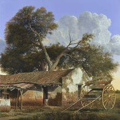 x 60 cm. Illustration Art Drawing, Art Drawings, Landscape Art, Landscape Paintings, Eloy Morales, Rio Grande, Village Photography, Farm Pictures, Oil Painting Techniques