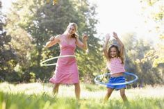 """Hula hoops became a hot toy in the late 1950s and are still a lot of fun for families. Hula hooping can burn more than 500 calories an hour — not bad for a $10 piece of plastic! Hoops come in a variety of sizes for children and adults, and weighted hoops for more advanced """"hoopers"""" will give you even more of a workout."""