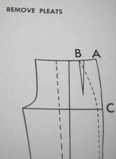 Trouser / Pants - Pattern Alteration. Eliminating or removing a tuck / pleat to create a flat front. Quiz Pt 1: http://www.fashion-incubator.com/archive/pop_quiz_465/ Answer given here in Pt 2: http://www.fashion-incubator.com/archive/pop_quiz_465_pt2/. From Fashion Incubator blog by Kathleen Fasanella.