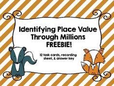 Here is a quick little center to work on identifying place value though millions. Included are 12 task cards, a student recording sheet, and an answer key. Math Place Value, Place Values, Fifth Grade Math, Fourth Grade, Third Grade, Math Skills, Math Lessons, Teaching Math, Maths