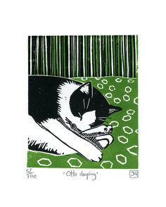 Otto Sleeping / black and white cat - linocut print - James Green, U.K.