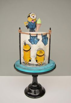 New birthday cake kids minions 20 Ideas Beautiful Cakes, Amazing Cakes, Minion Cookies, Minion Cupcakes, New Birthday Cake, Happy Birthday, Bolo Cake, Hand Painted Cakes, Character Cakes