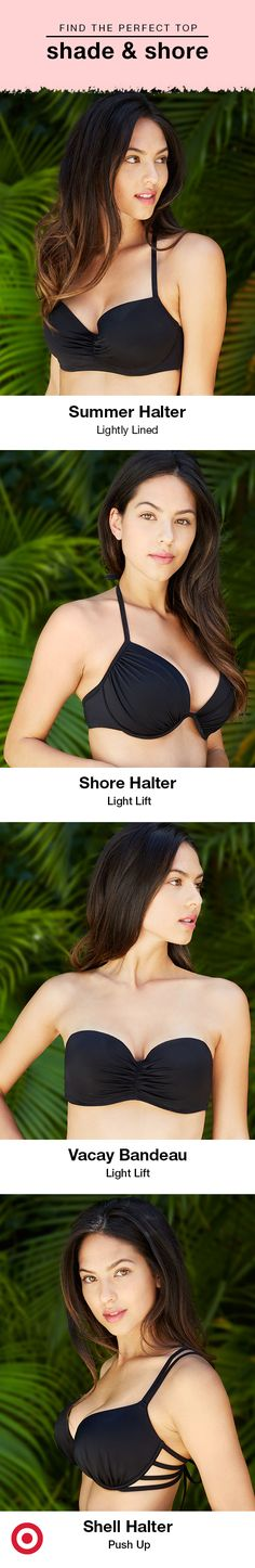 If you're looking to customize your swimsuit game, you're in luck because Shade & Shore, our new bra-size swimwear, is here. Designed to fit your style and shape, the four bikini-top options come in 32A to 38DDD (depending on style) and feature a range of colors and patterns with a variety of details. From a classic bandeau to a push-up halter, Shade & Shore has you covered. Just mix-and-match your favorite bikini bottoms, and you're set. Find the entire line on Target.com