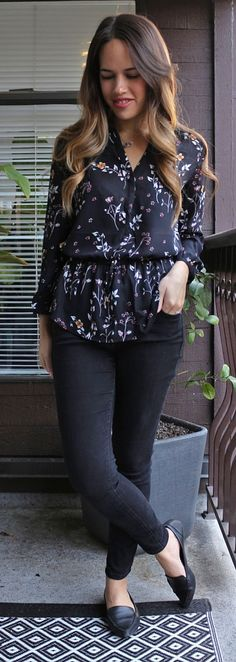 Jules in Flats - Dynamite Floral Peplum Blouse, Old Navy Rockstar Jeans