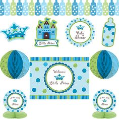 """Make decorating for your Little Prince baby shower celebration as easy as possible with our 10 piece decorating kit!  Each kit includes one 12-foot baby bottle-shaped paper garland, two 12-inch honeycomb decorating balls, four 12-inch diecut cutouts (1 baby bottle, 1 crown, 1 castle, and 1 round), one 14-inch rectangular sign reading """"Welcome Little Prince"""", and two 9-inch honeycomb centerpieces, all matching our very popular Little Prince Baby Shower decorating theme."""