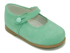 Mint color little Mary Jane shoes. 100% Made in Spain.www.okaaspain