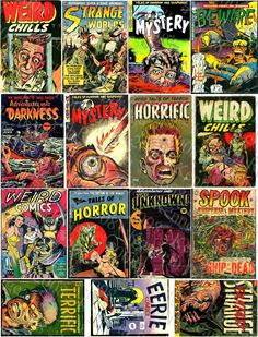 Classic Horror comics collage