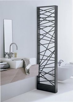 Mike designer radiator: an impressive contemporary steel radiator. It gives stylish interior decoration for the house. This designer radiator can be installed as room divider and is availabl Bathroom Inspiration, House Design, Luxury Bathroom, Home Radiators, Home, Interior, Bathroom Design, Decorative Radiators, Home Decor