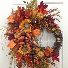 Updates from JansElegantWreaths on Etsy Elegant Fall Wreaths, Autumn Wreaths, Holiday Wreaths, Halloween Wreaths, Spring Wreaths, Fall Halloween, Thanksgiving Mesh Wreath, Easter Wreaths, Wreaths For Front Door