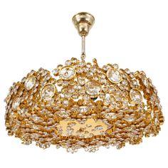 Gilded Brass & Crystal Glass Encrusted Lobmeyr Chandelier