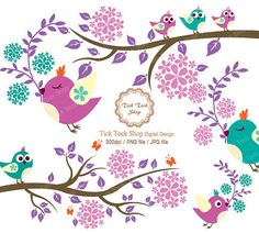 Birds &the branch in full blossom SET  6 inchowl dove by KangByeol, $4.50