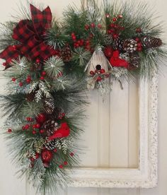 Check out these awesome last minute DIY Christmas decorations on a budget that will brighten your home over the festive season. Picture frame wreaths are really cheap and easy holiday decor ideas that you can use for your indoor or outdoor decorations. Christmas Swags, Noel Christmas, Holiday Wreaths, Rustic Christmas, Christmas Ornaments, Holiday Decor, Winter Wreaths, Christmas Nails, Picture Frame Wreath