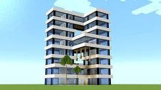 Minecraft Tutorial on how to build a huge hotel tower. This modern skyscraper will fit perfectly to your Minecraft city. Minecraft Modern City, Minecraft Farmen, Minecraft Skyscraper, Villa Minecraft, Minecraft House Plans, Modern Minecraft Houses, Minecraft City Buildings, Minecraft Mansion, Minecraft House Tutorials