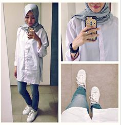 ootd. casual hijab outfit oversized white shirt, jeans, white sneakers adidas superstar  Syaifiena W lookbook.nu/syaifiena