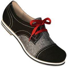 Aris Allen Women's Black Canvas & Herringbone Spectator Captoe Dance Shoes