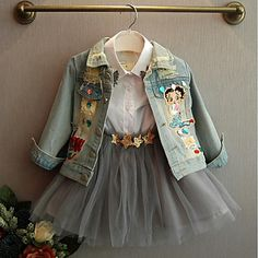 Cheap denim shirts, Buy Quality denim jacket and skirt directly from China denim shrug Suppliers: [Bosudhsou.] New Spring Autumn Children Clothing Child Clothes Baby Girl Outerwear Coat Jackets Kids Tops Jeans Wear Denim Dresses Kids Girl, Kids Outfits, Denim Jacket Embroidery, Street Style Chic, Girls Denim Jacket, Denim Coat, Barbie Mode, Kids Tops, Fashion Kids