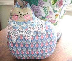 Cat Pillow Doll Cloth Doll 7 inch Cat BLUE and by CharlotteStyle, $12.00