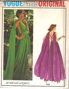 Vogue Paris Original 1135 circa 1974 Emanuel Ungaro Evening Dress