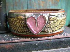 Leather cuff bracelet - Love Has Wings - Boho jewelry bohemian pink heart friendship bracelet recycled leather soldered jewelry