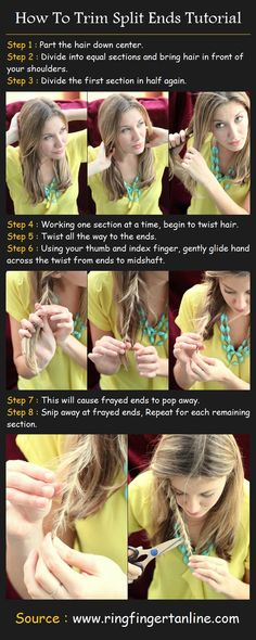 Seriously??!! This needs to be removed from Pinterest! If you cut your own split ends with Kitchen scissors expect to have a jacked up style! Good see your Hairstylist!