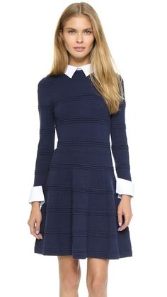 Raised stitches create tonal stripes on this fit-and-flare alice + olivia dress. Buttons secure the optional collar and cuffs, which are made from crisp, contrast shirting.   alice + olivia Textured Collared Dress