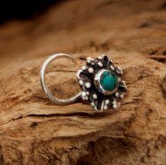 Turquoise Nose Stud - Silver Nose Stud - Tiny Nose Stud - Nose Jewelry - Nose Piercing - Nostril Stud - Nostril Jewelry - Nose Earring  Beuatiful sterling silver nose stud set with 8mm turquoise gemstone.  20 Gauge - 0.8mm $15