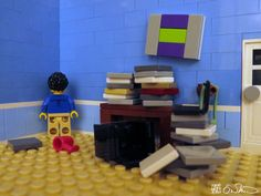 Trying to grade sixty papers, read 800 pages, write three proposals, and reply to 50 e-mails in four days, the grad student simply cannot. Lego Figures, Lego News, Student, Proposals, Reading, Paper, Wedding Proposals, Reading Books, Proposal