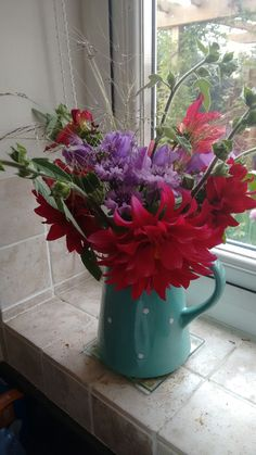 Dahlias, cornflowers and sweet peas from my cut flower patch